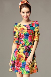 Colorful-Floral-Print-Dress
