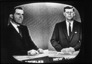 1960: Presidential candidates Richard Nixon (left), later the 37th President of the United States, and John F Kennedy, the 35th President, during a televised debate. (Photo by MPI/Getty Images)