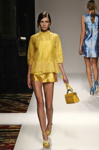 Top-Grade-Silk-And-Polyester-Catwalk-Day-Brand-Golden-Yellow-Dress-Women-With-Top-And-Pants