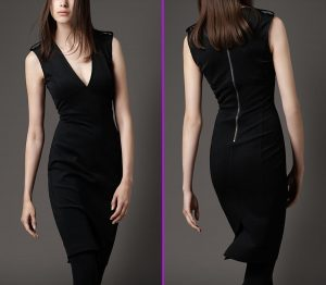Black-V-Neck-Dress-with-Metallic-Back-Zip-Closure-as-Women-Fashion-Collection