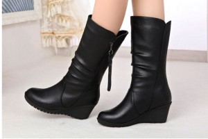 Free-Shipping-Women-2016-winter-boots-genuine-leather-Female-wedges-Warm-Plus-Velvet-snow-boots-Black