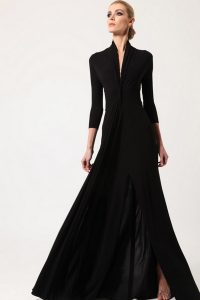 Long-Black-Vintage-High-Waistline-Dress