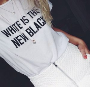 "Zara controversion ""White is the New Black"" shirt from the Instagram account of blogger Kristiana Vasarina https://instagram.com/kristianav"
